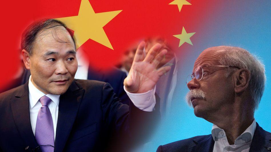 Geely-Chef Li Shufu, Daimler-Chef Dieter Zetsche: Zugriff aus China - doch Zetsche bleibt höflich auf Distanz