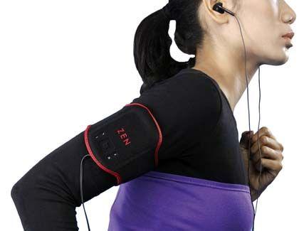 Marathon mit Musik: MP3-Spieler, die sich wie hier an den Oberarm schnallen oder an die Kleidung klippen lassen, sind für Jogger praktisch