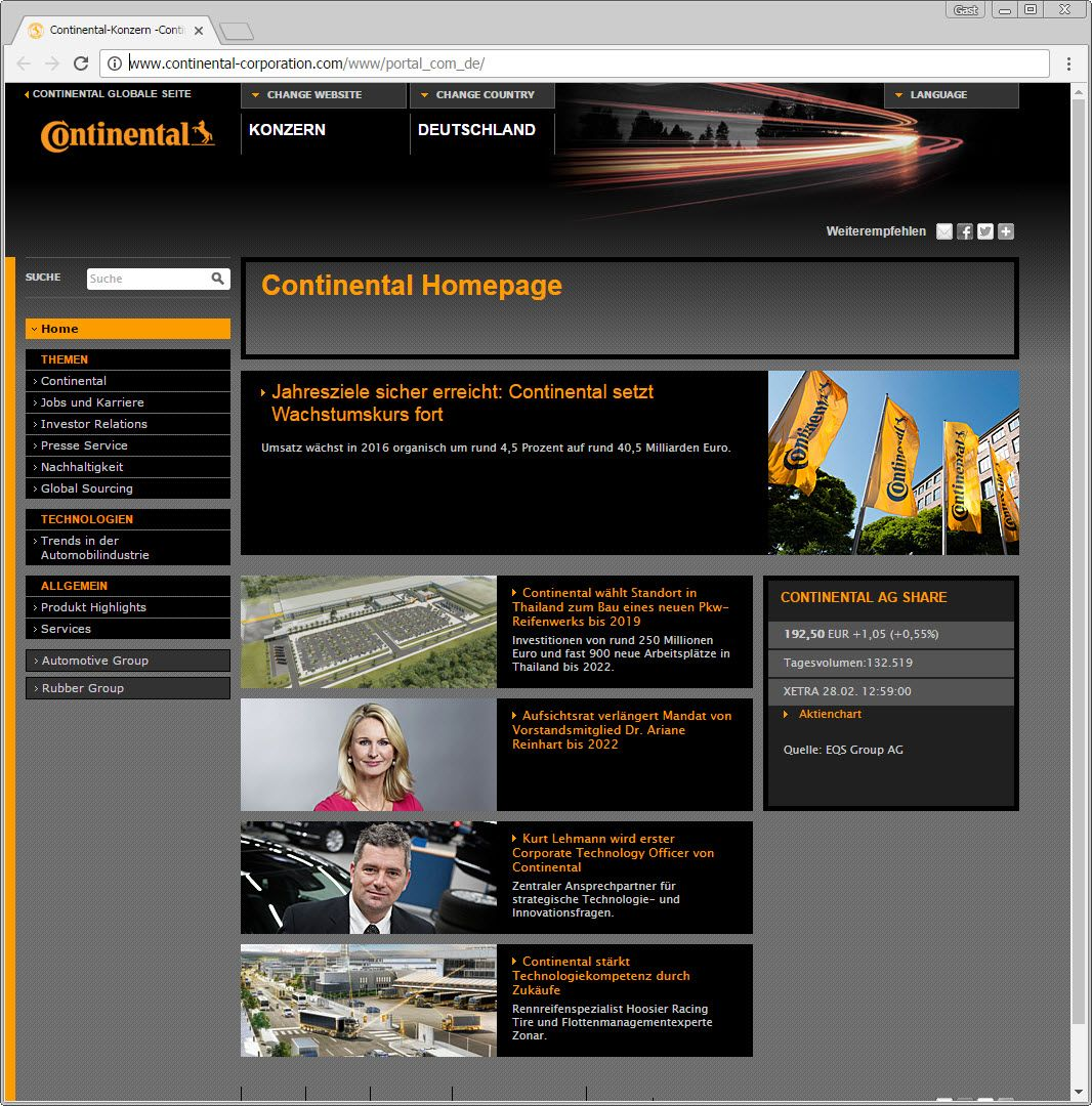 SCREENSHOT continental-corporation.com