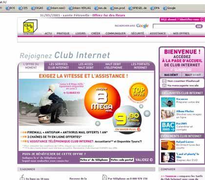 Warten auf den Erfolg: Club-Internet-Webseite