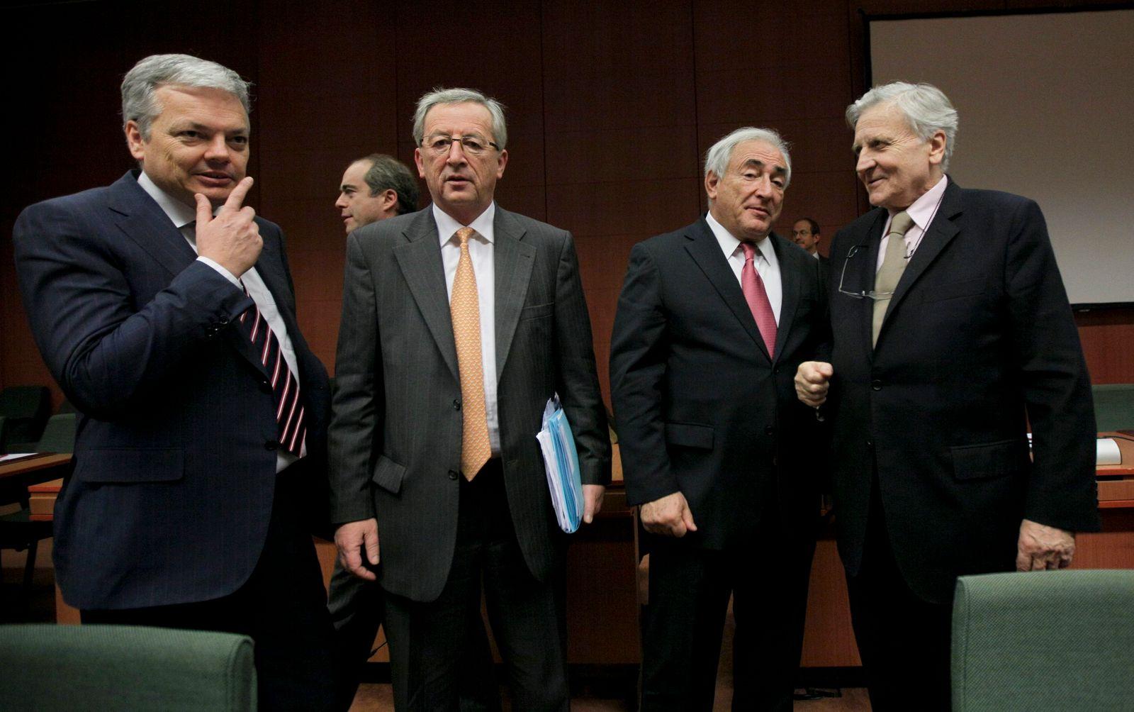 Treffen der Finanzminister in Brüssel / Reynders / Junker / Straus-Kahn / Trichet
