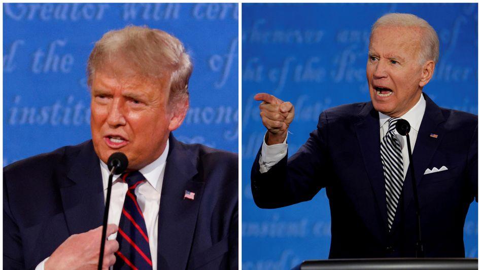 US-Präsident Donald Trump (l.) und Herausforderer Joe Biden am Dienstagabend beim Streitgespräch