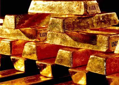 Politische Reserve? Barren der Goldvorräte, die die Bundesbank verwaltet
