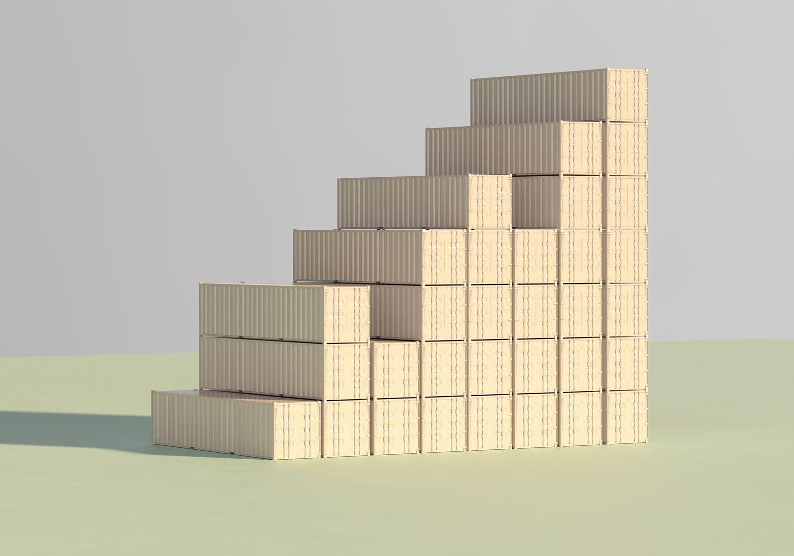 Rising bar graph made of containers
