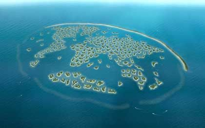 """Erde im Kleinformat: 300 künstlich angelegte Inseln vor der Küste Dubais bilden das Projekt """"Die Welt"""""""