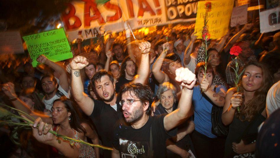 Fühlen sich ausgebeutet: Demonstranten in Lissabon