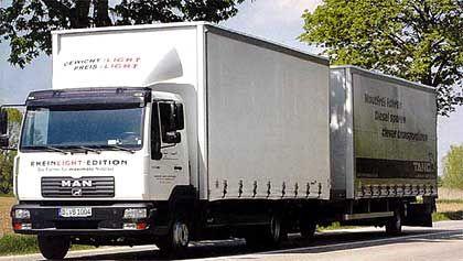 Mehr als 5900 Kilo Zuladung: Ultralight-Hänger und MAN-Zugfahrzeug LE 2000