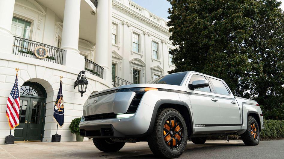 Parkte einst vor dem Weißen Haus, nun sieht's eher düster aus: Prototyp des Elektro-Pick-ups Endurance von Lordstown Motors.