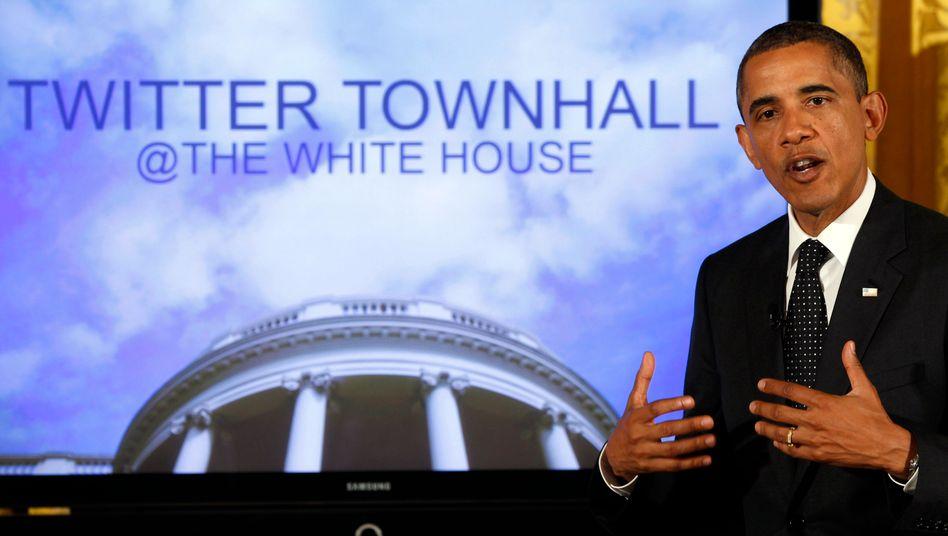 Zwitschernder Präsident: Barack Obama bei seinem Twitter-Event im Weißen Haus