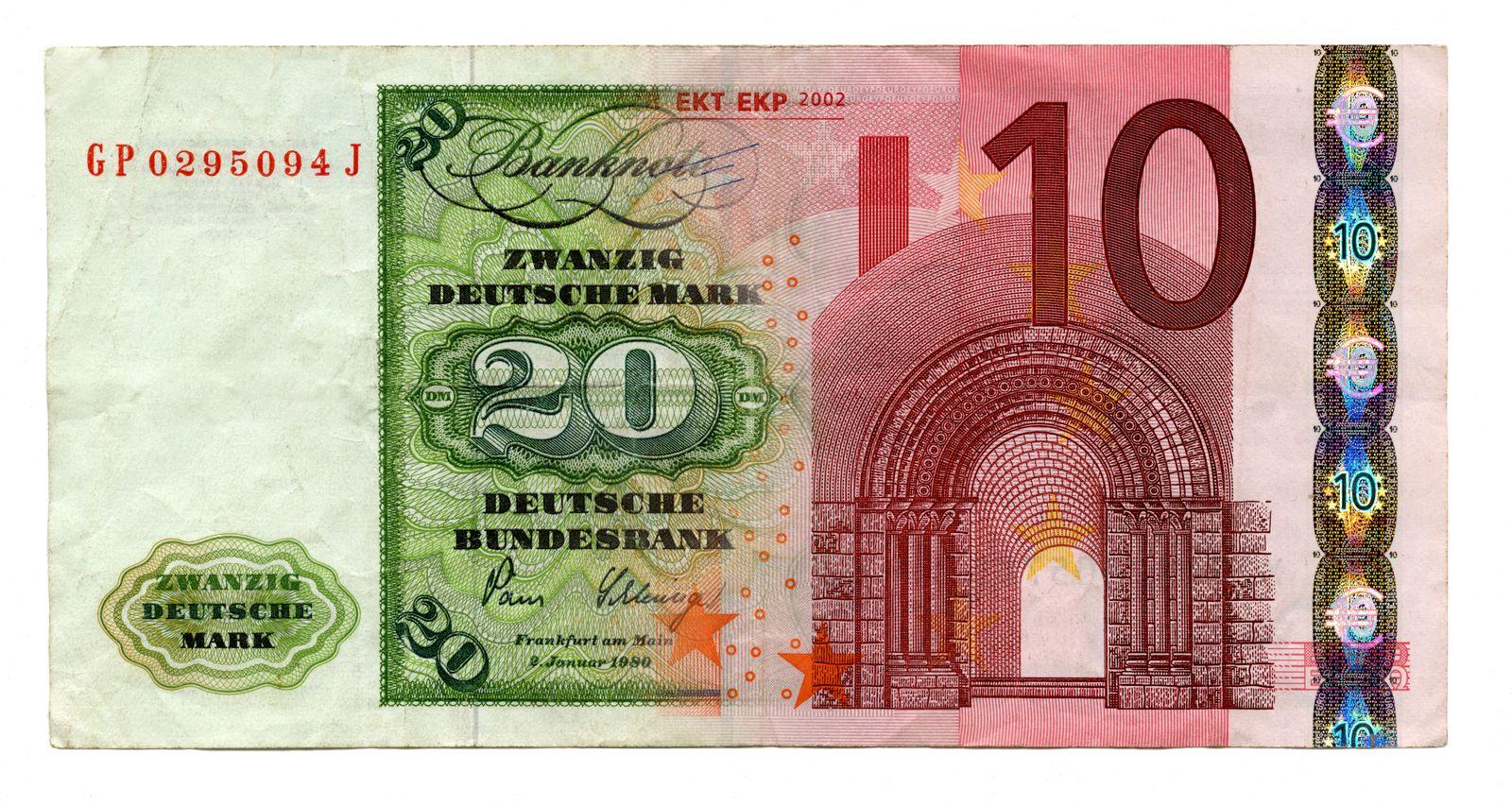 NICHT MEHR VERWENDEN! - Euro und D-Mark / Deutsche Mark / Geldschein / Mark