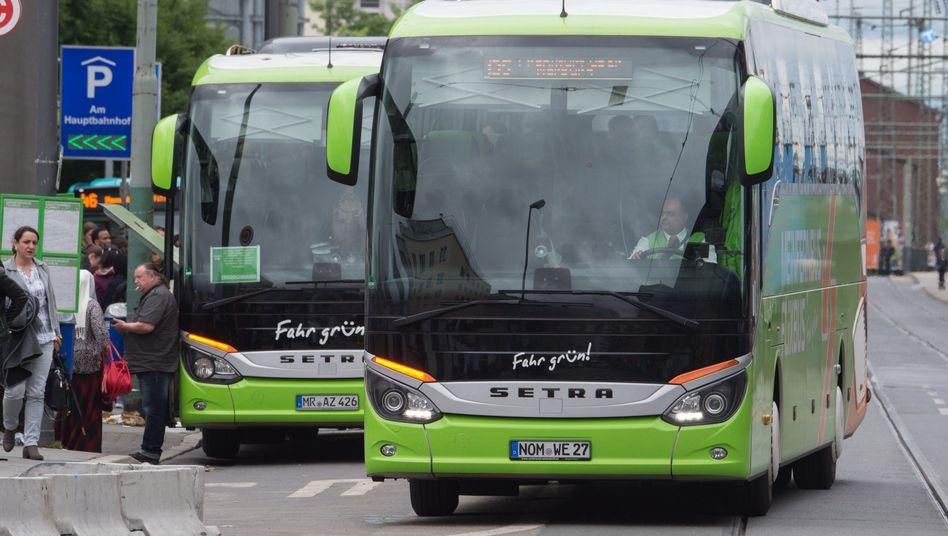 Markante Farbe: Die grünen Busse von Flixbus fallen im Straßenbild ins Auge.