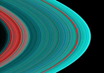 """Ring A in seiner vollen Pracht: Innen vor allem """"Dreck"""" (rot), außen vor allem Eis (türkis). Der einzelne rote Streifen ist die sogenannte Encke-Teilung."""
