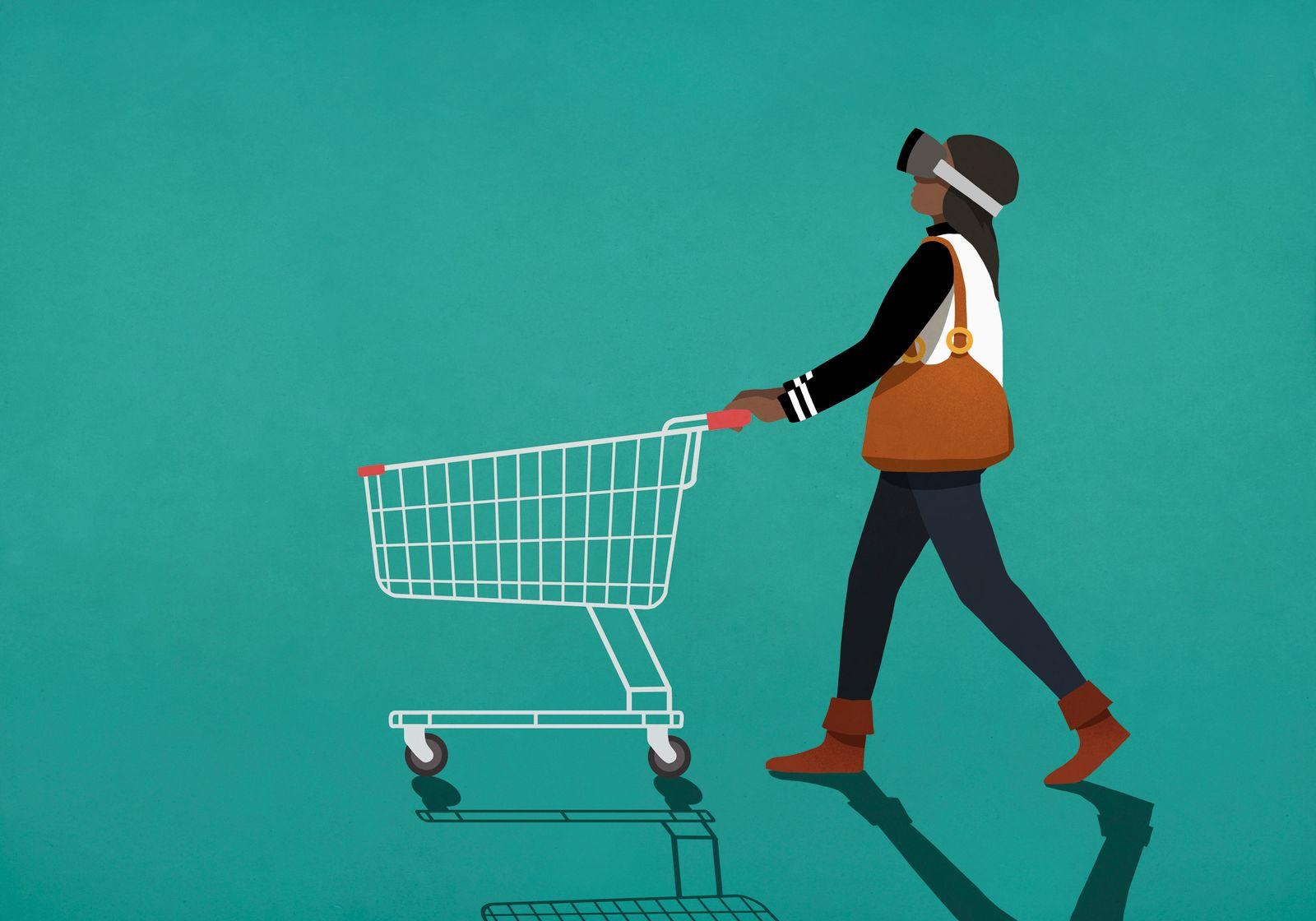 Woman with virtual reality simulator pushing shopping cart