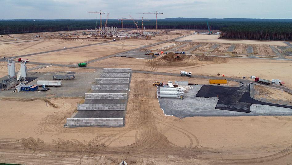 Kräne und erste Pfeiler der künftigen Tesla-Autofabrik auf dem Baugelände in Grünheide bei Berlin