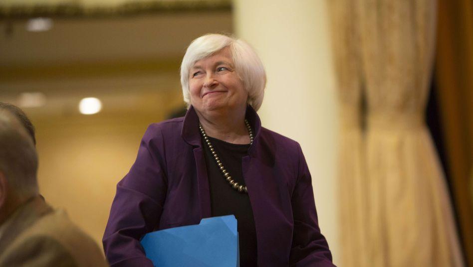 Fed-Chefin bei einem Auftritt Anfang Juni Janet Yellen.