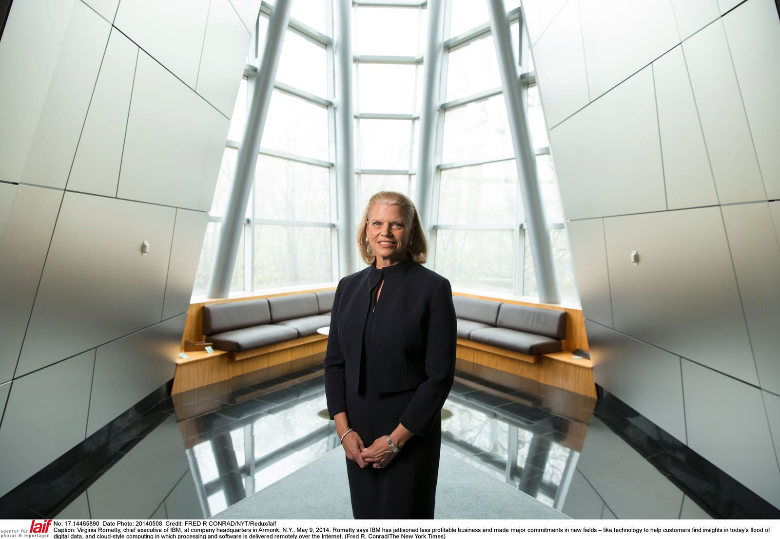 Virginia Rometty, chief executive of IBM, at company headquarters in Armonk, N.Y.