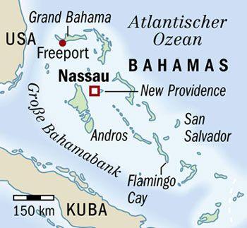Karibik, finanzamtsfrei: Bahamas-Landkarte