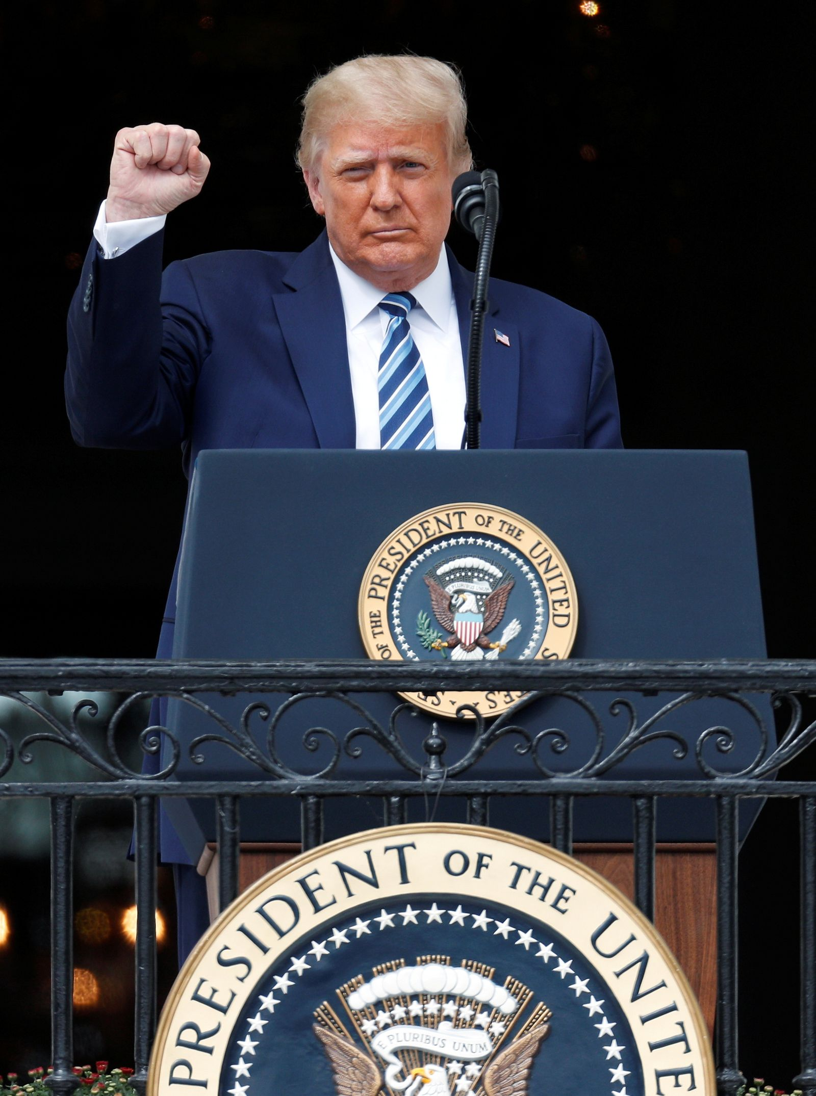 FILE PHOTO: U.S. President Donald Trump holds a campaign rally on the South Lawn of the White House in Washington