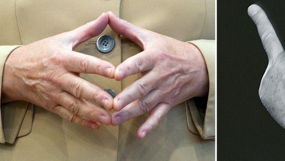 Erbitterter Kampf um Wählerstimmen: Merkel versucht es mit Raute, Steinbrück hält mit Mittelfinger dagegen