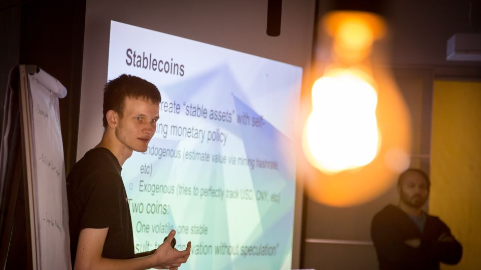 Ethereum-Erfinder Buterin bei Vortrag in Berlin: Nur Geld investieren, dessen Verlust verkraftbar ist.