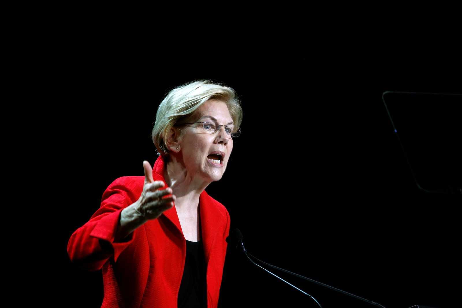 Democratic presidential candidate and U.S. Senator Elizabeth Warren (D-MA) speaks during the California Democratic Convention in San Francisco