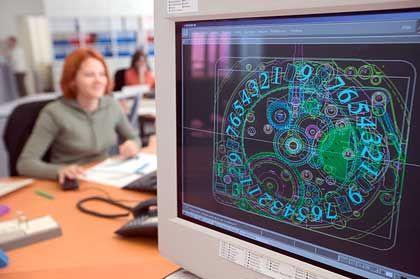 Jaeger-LeCoultre: In der hochmodernen Manufaktur in Le Sentier werden für den Entwurf am Bildschirm CAD-Programme eingesezt.