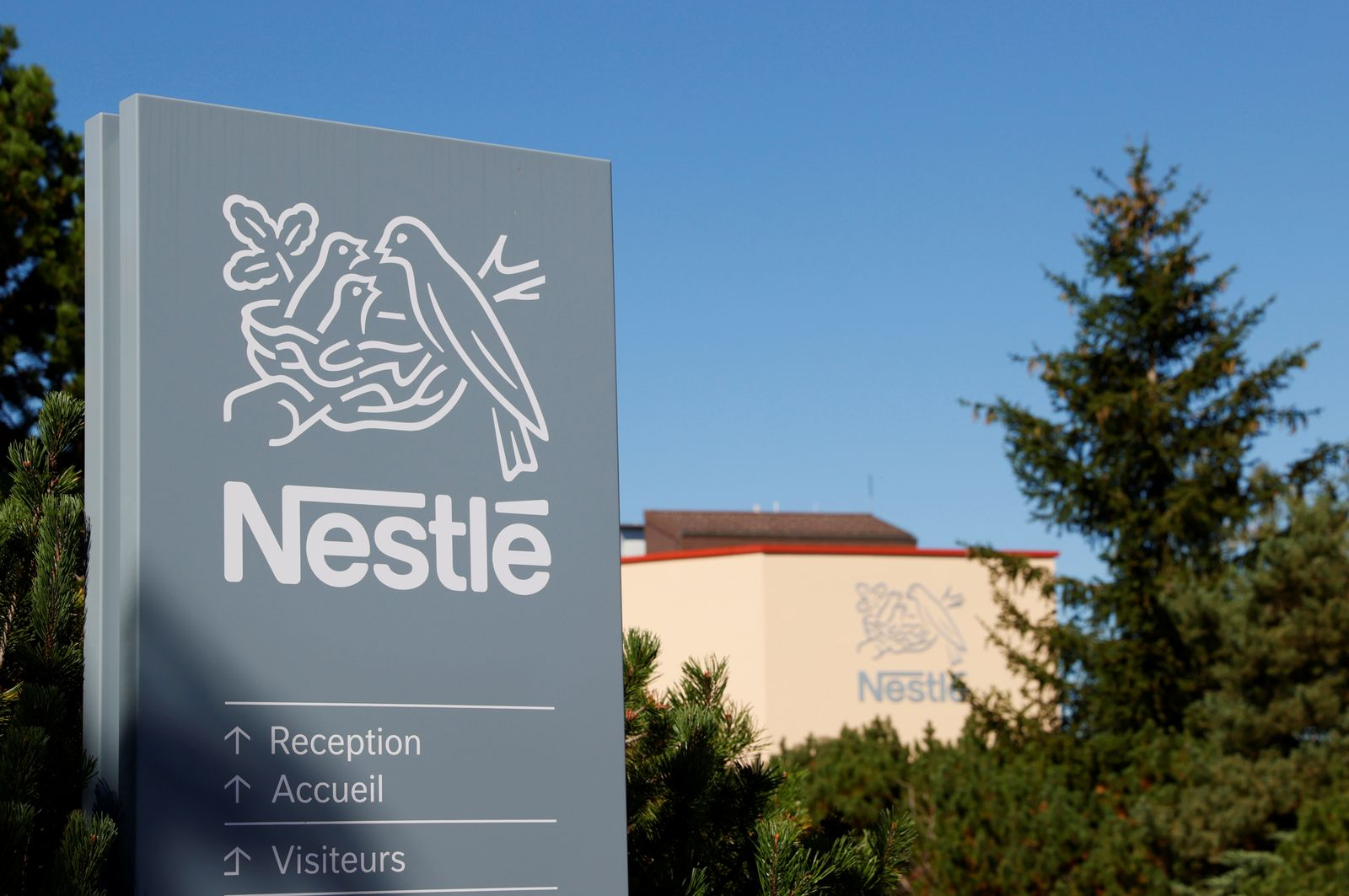 Logo is pictured on the Nestle research center in Lausanne