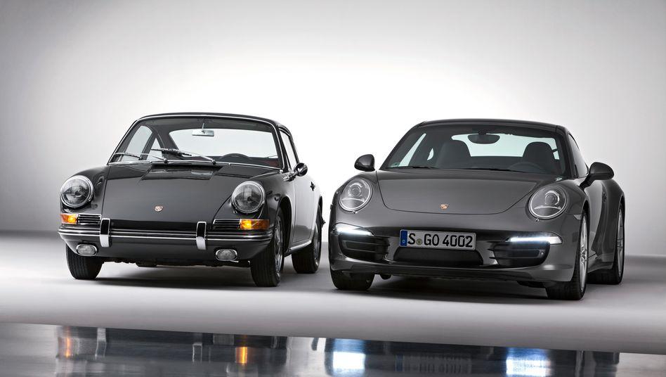 """Beim """"Ur-Porsche"""" 911 2.0 Coupé (links, hier ein Modell aus dem Jahr 1964) ist das Geschmacksmuster geschützt. Beim Porsche 911 Carrera 4S Coupé (rechts) hingegen nicht."""
