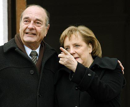 Spitzenthema Airbus: Bundeskanzlerin Merkel, Staatspräsident Chirac in Meseberg