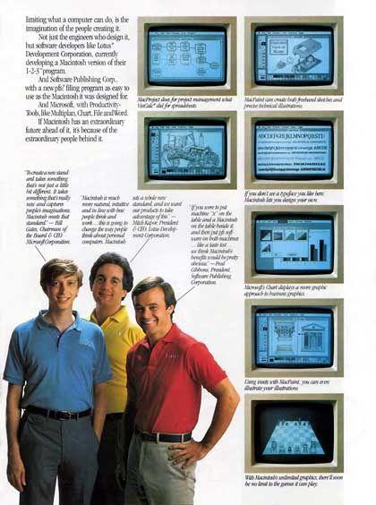 Alles Macintosh-Fans: Apple-Anzeige von 1984 mit Bill Gates (Microsoft), Mitch Kapor (Lotus) und Fred Gibbons (Software Publishing Corporation)