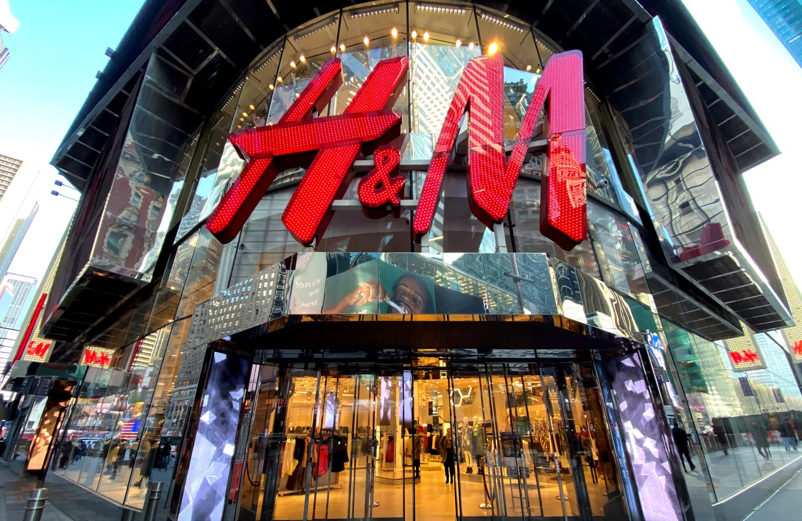FILE PHOTO: The H&M clothing store is seen in Times Square in Manhattan in New York