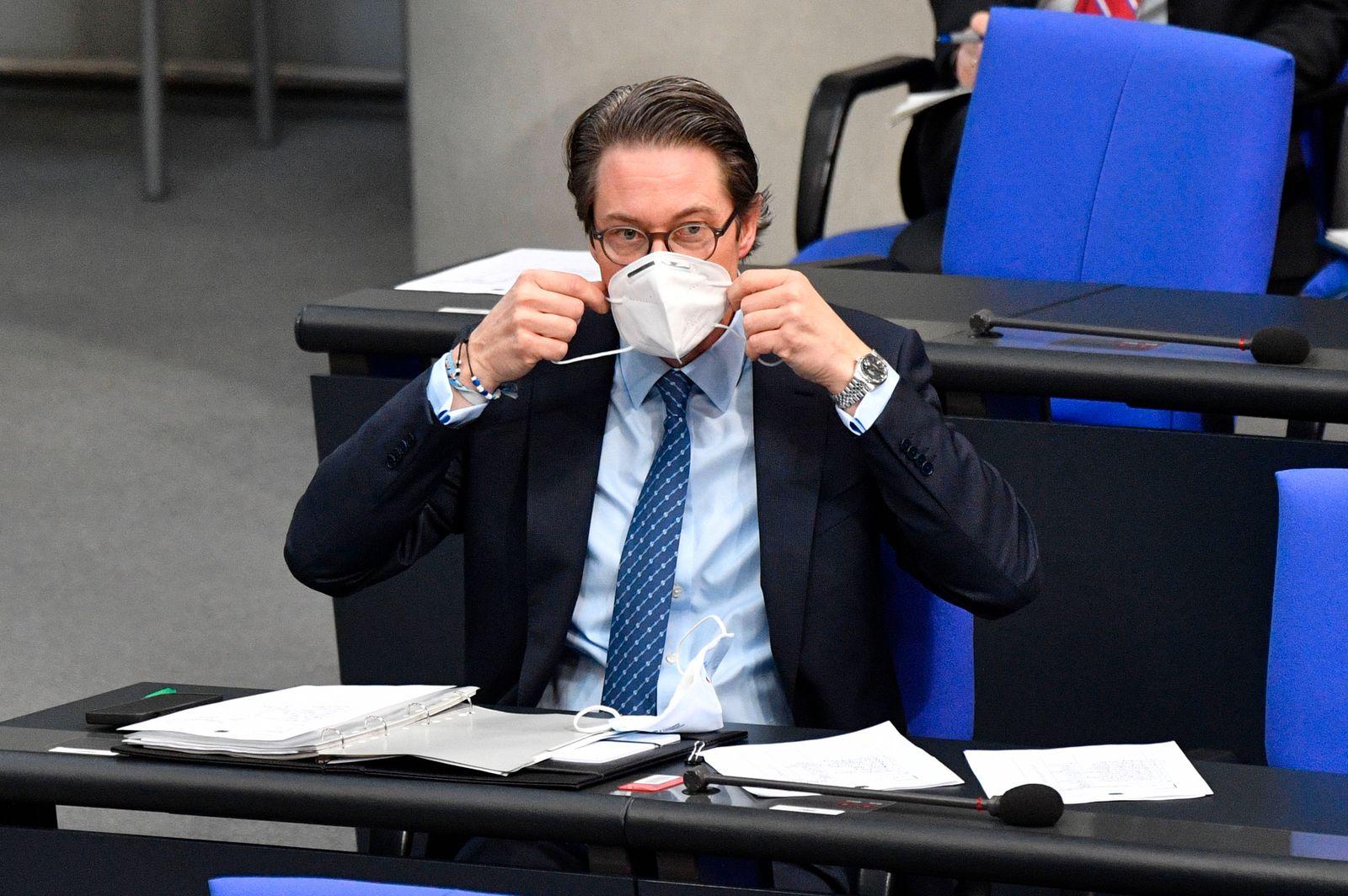 Andreas Scheuer in der 207. Sitzung des Deutschen Bundestages im Reichstagsgebäude. Berlin, 29.01.2021 *** Andreas Sche