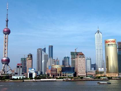 Boomtown: Skyline von Pudong, dem Geschäftsviertel von Shanghai