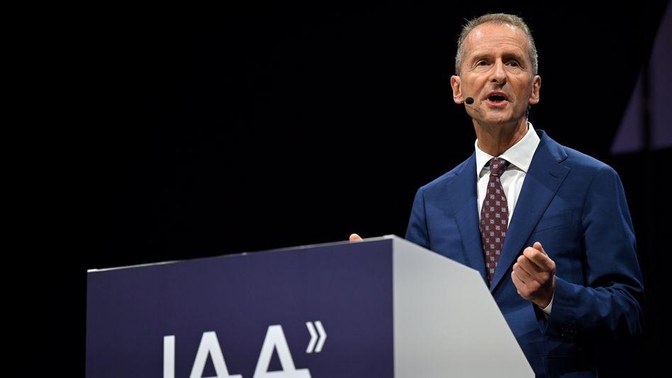 """""""Es kann sehr viel mehr getan werden"""": Volkswagen-Chef Herbert Diess forderte auf der IAA die Politik auf, die Energiewende schneller voranzutreiben"""