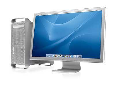 Apples Cinema Diplay: Monitor aus eloxiertem Aluminium harmoniert zu G5-Gehäuse.