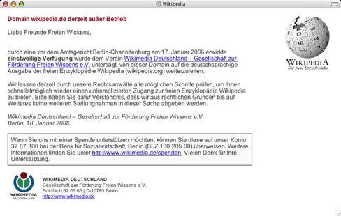 Per einstweiliger Verfügung stillgelegt: Wikipedia.de funktioniert nicht mehr, der internationale Zugang zum deutschen Angebot dagegen schon