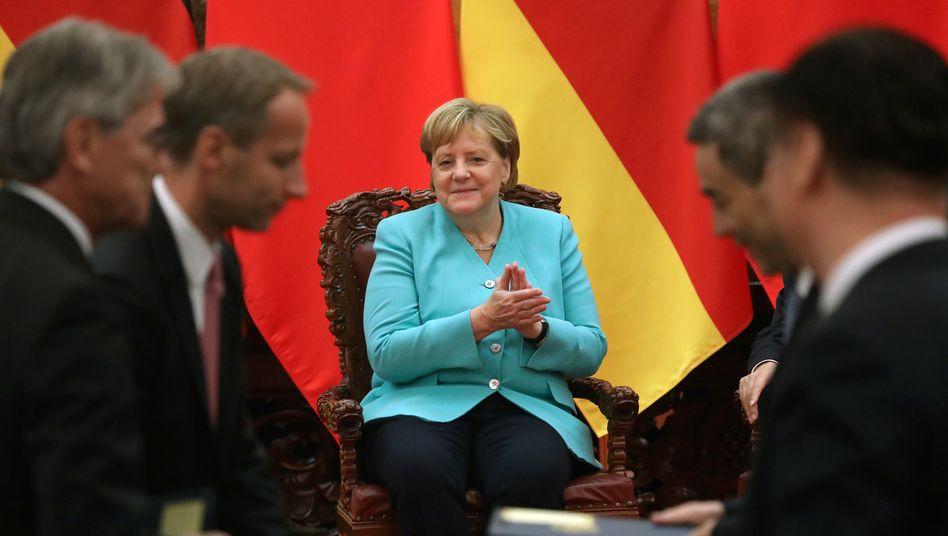 Auf Werbetour: Die Bundeskanzlerin im September 2019 während ihrer Reise nach China, auf der sie sich auch für Wirecard stark machte.