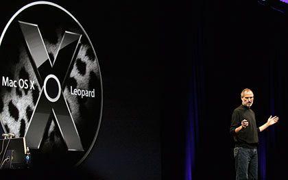 Apple-Chef Steve Jobs: Bei der Vorstellung von Mac OS X 10.5 Leopard im vergangenen August lag die Entwicklung noch im Zeitplan
