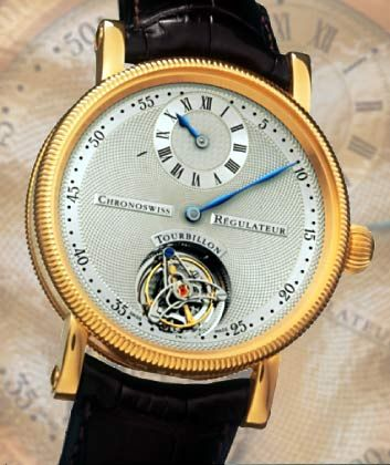 """Kleine Stunde, große Minute: Nach dem Prinzip des klassischen Regulators, der die Minutenanzeige hervorhebt, hat Gerd-Rüdiger Lang, Inhaber des Münchener Uhrenwerks Chronoswiss, den """"Régulateur à Tourbillon"""" gestaltet."""