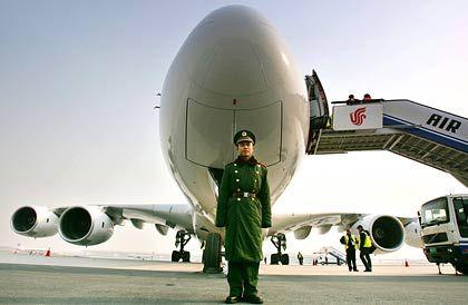 Rundflug-Station China: In der vergangenen Woche landete der A380 auf seiner Testflugreise in Peking