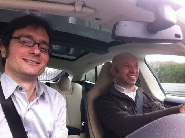 Was Obama und Cameron können, können wir auch. Ein Selfie aus dem Tesla bei Bad Ditzenbach auf besonderen Wunsch von User Martin Hillebrand