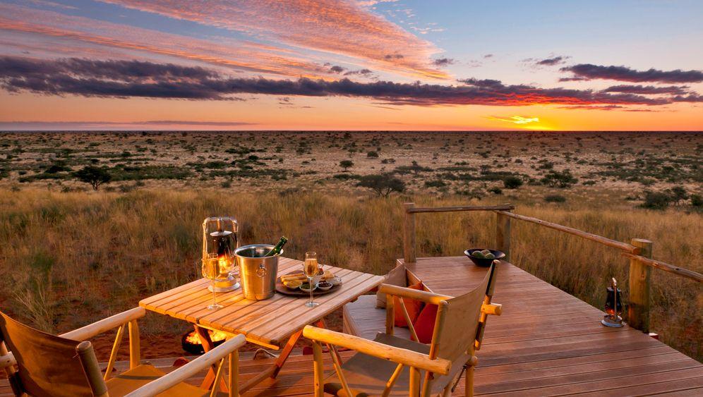 Luxussafaris in Botsuana: Sektfrühstück mit Zebras