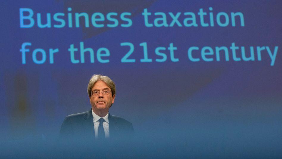 """""""Ein Schritt voran, man kann natürlich nie alles erreichen, was man wollte"""": So kommentiert EU-Finanzkommissar Paolo Gentiloni die Einigung auf mehr Steuergerechtigkeit in der EU"""