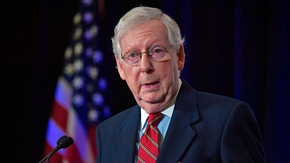 Fürs Umfallen entschieden: Der wichtigste Republikaner im Senat, Mitch McConnell, will nun das Amtsenthebungsverfahren gegen Donald Trump stoppen