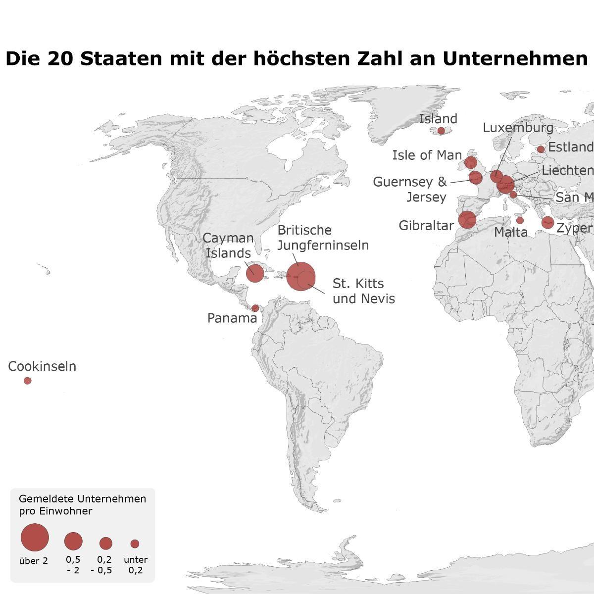 Unternehmen pro Kopf - Karte