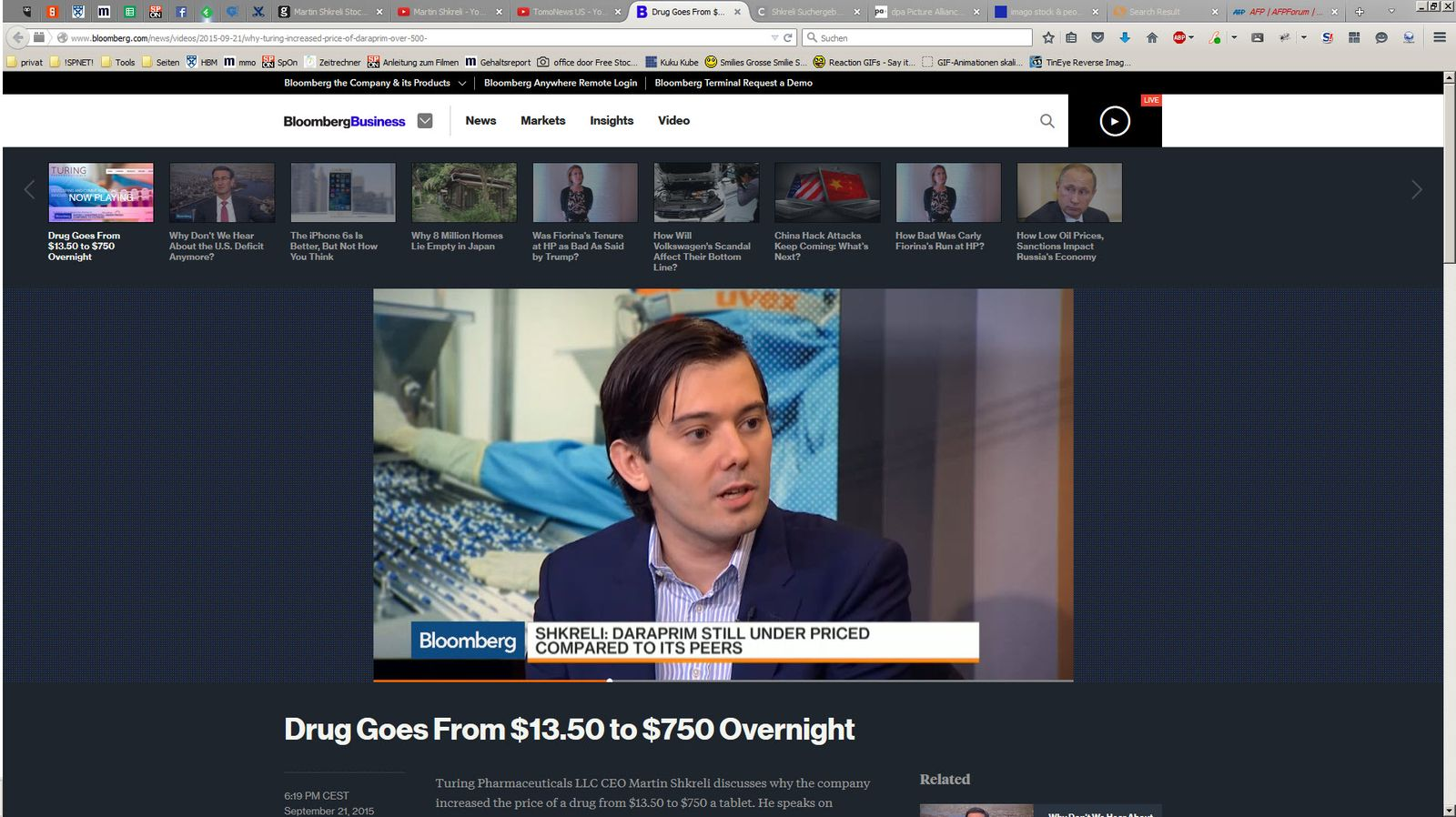 SCREENSHOT Martin Shkreli - Drug Goes From $13.50 to $750 Overnight