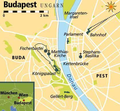 Sehenswürdigkeiten entlang der Donau in Budapest. Der Fluss teilt die ungarische Hauptstadt fast genau in der Mitte