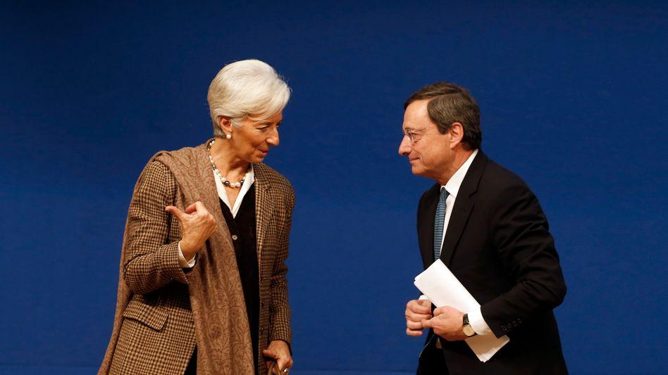 IWF-Chefin Christine Lagarde, Noch-EZB-Chef Mario Draghi: Wird Lagarde EZB-Chefin, erwarten Anleger eine weiterhin lockere Geldpolitik der EZB