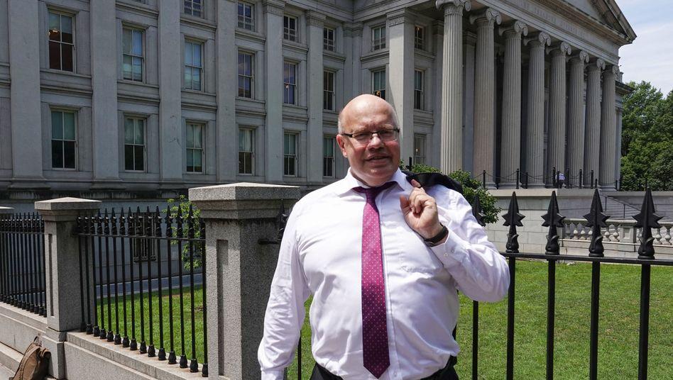 Wirtschaftsminister Peter Altmaier Anfang Juli 2019 in Washington vor dem US-Finanzministerium