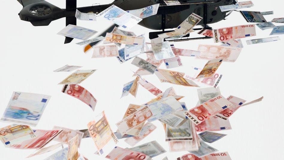 Sinnbild Helikoptergeld: Ohne Umweg über das Bankensystem